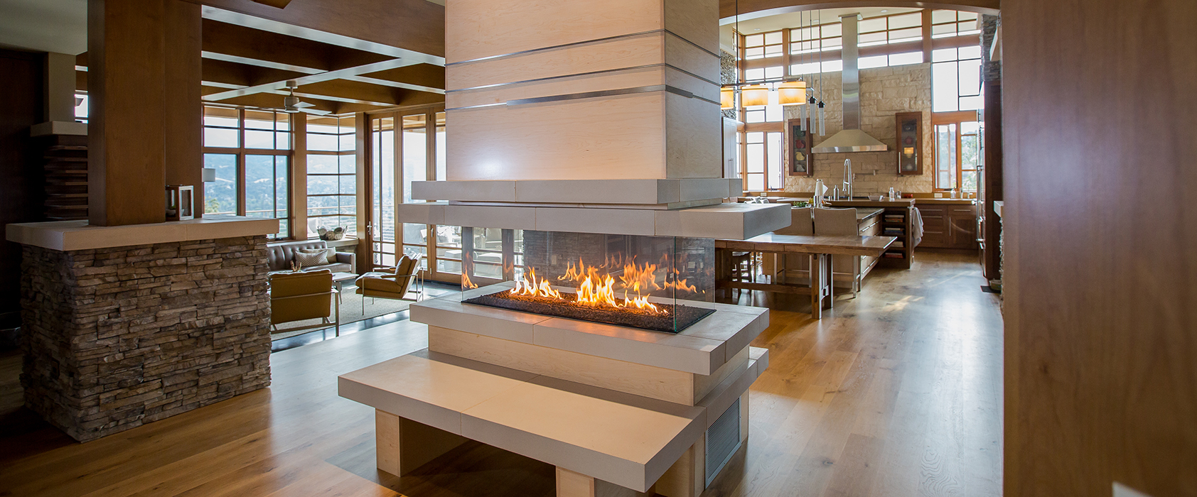 Modern Four Sided Custom Fireplaces